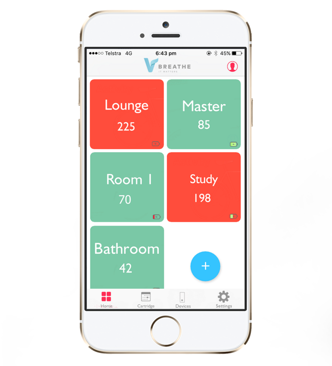 The app displays the air-quality around each VBreathe device. The red colour indicates poor air quality.