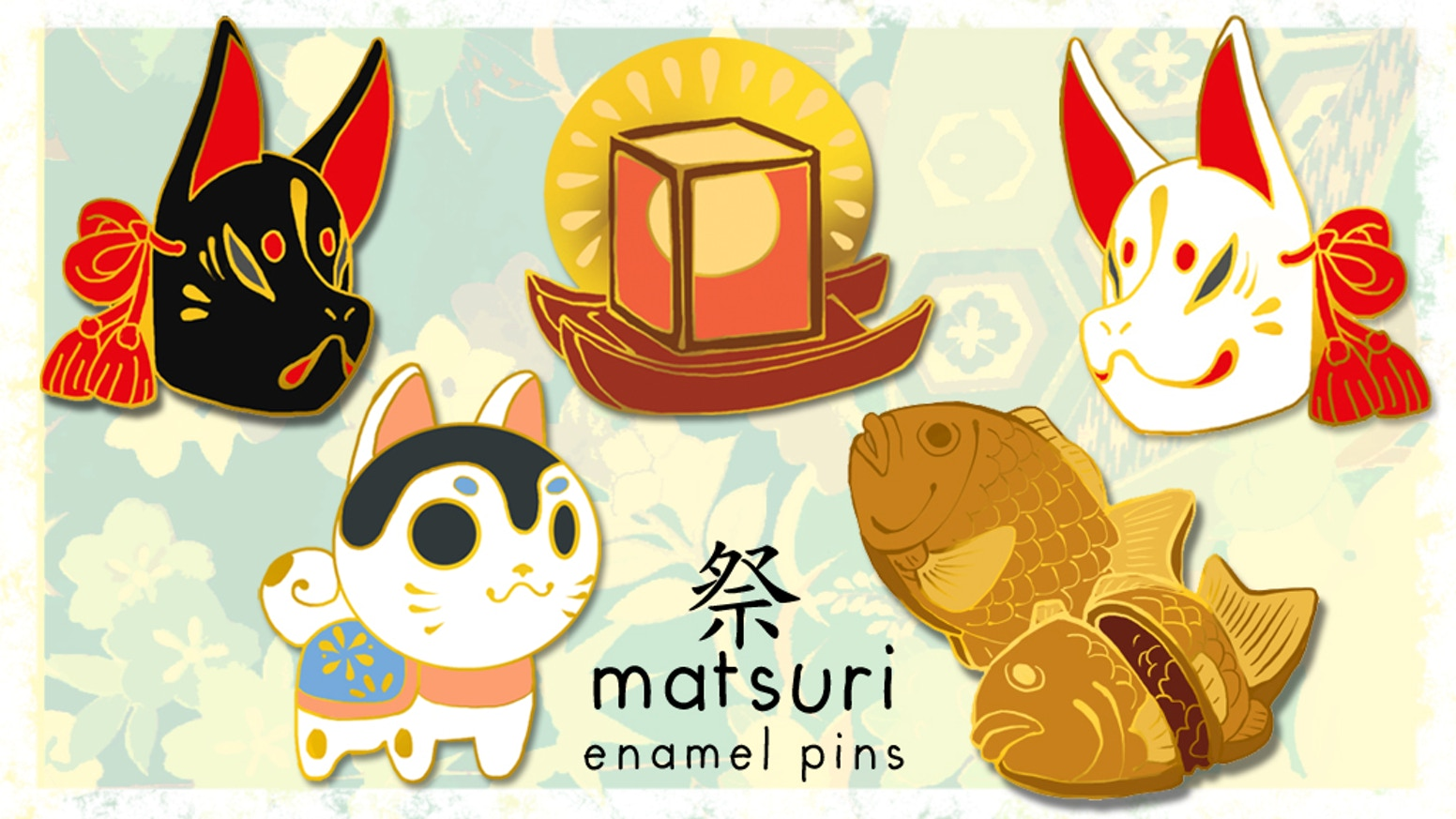 Matsuri (festival) inspired pins to brighten your day and bring you good luck!