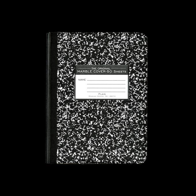Printed composition notebook, 2016, Pennsylvania, USA