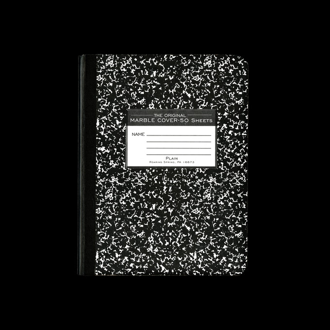 Printed composition notebook, 2016, Pennsylvania, USA