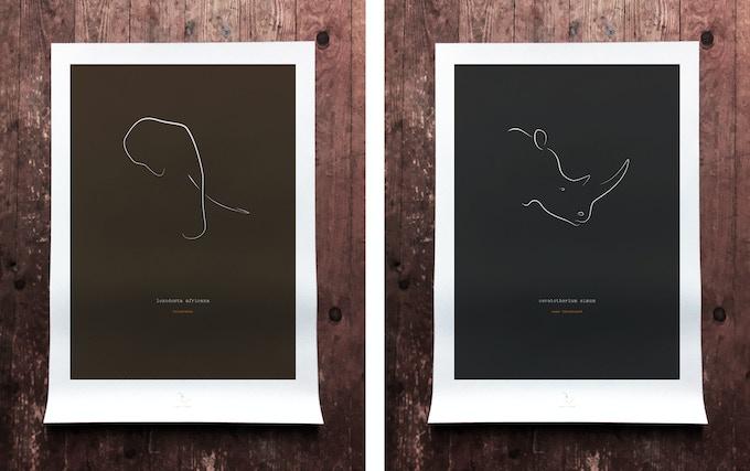 elephant & rhino art print mockups