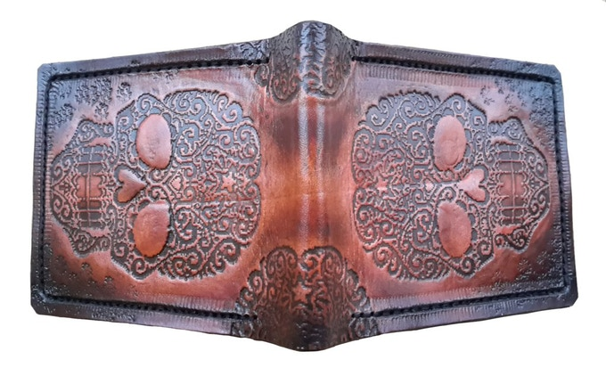 Carved Hand Carved Amp Painted Leather Wallets By Stephen
