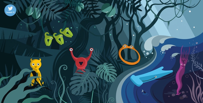 But what they didn't notice, were the strange creatures hiding in the jungle!