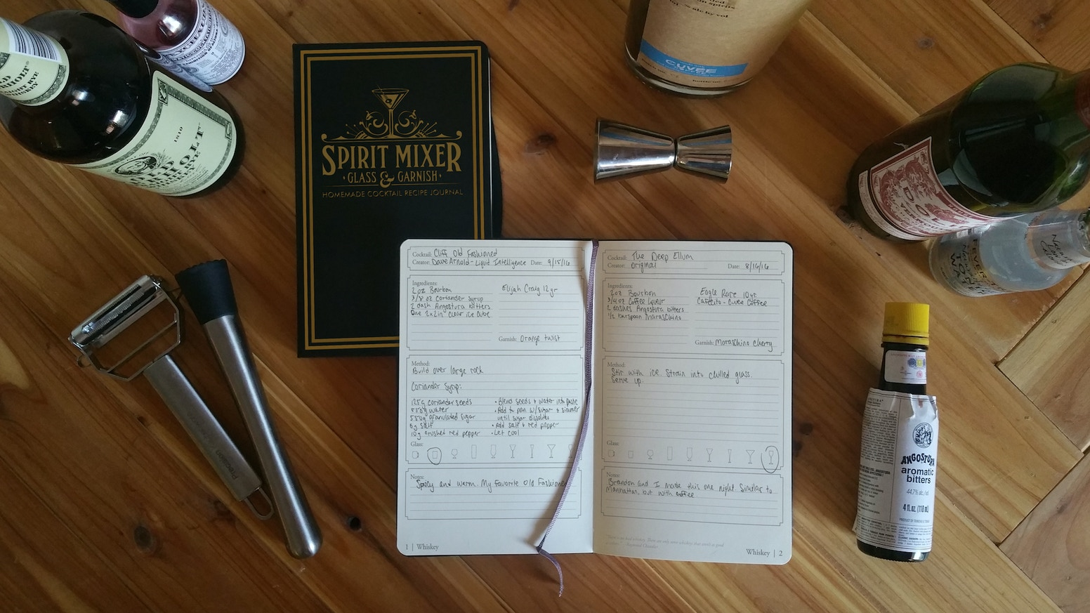 A stunning, hardback, water-resistant journal for recording cocktail recipes. Now shipping!