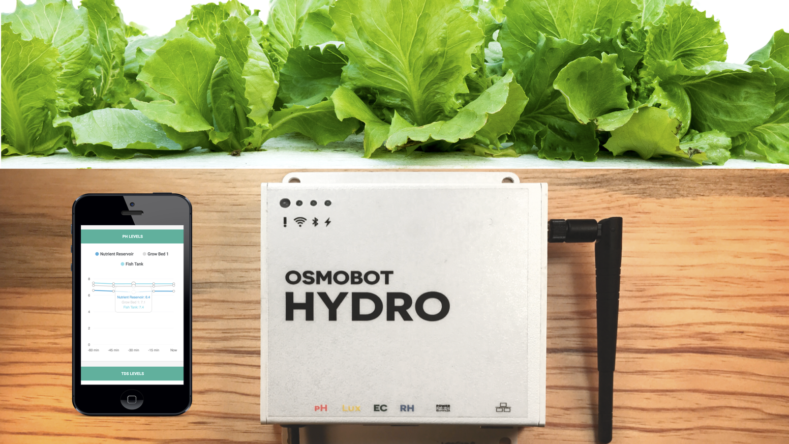 OSMOBOT:  Everything you need to monitor your hydroponic or aquaponic system online. In one box. At the right price.