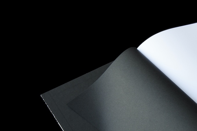 Color-through dyed black endsheets