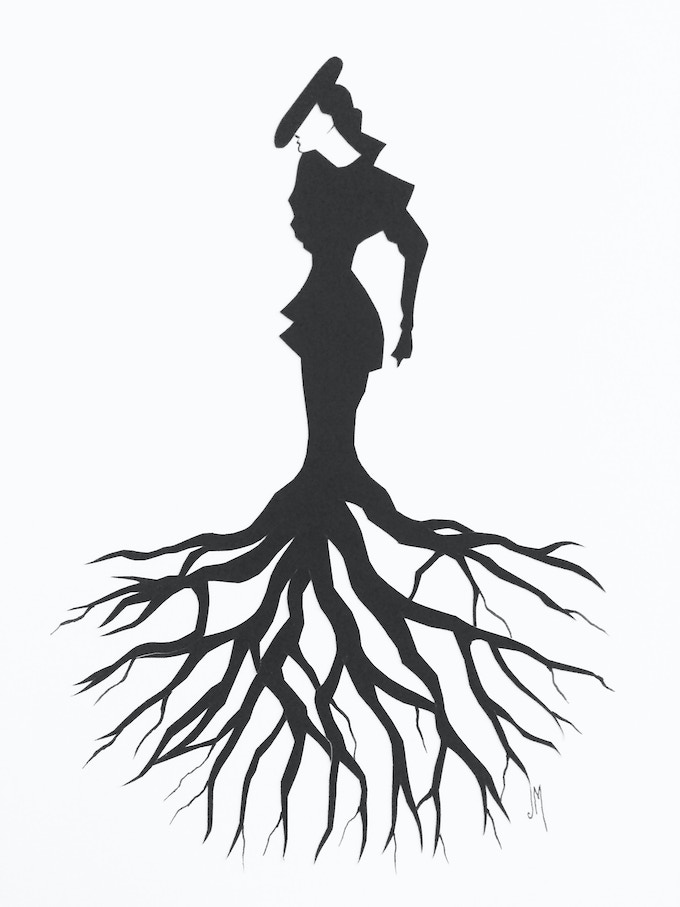 Hand-cut silhouette by Jordan Monsell, available at $250