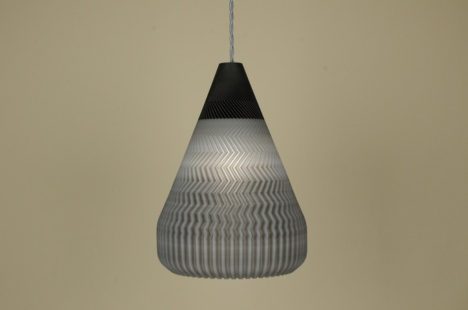 Ramen pendant light in silver smoke carbon