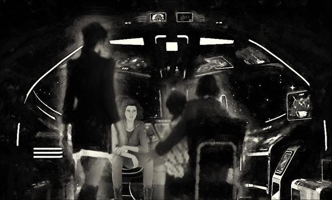Storyboard:  Liberty hologram conference calls family.