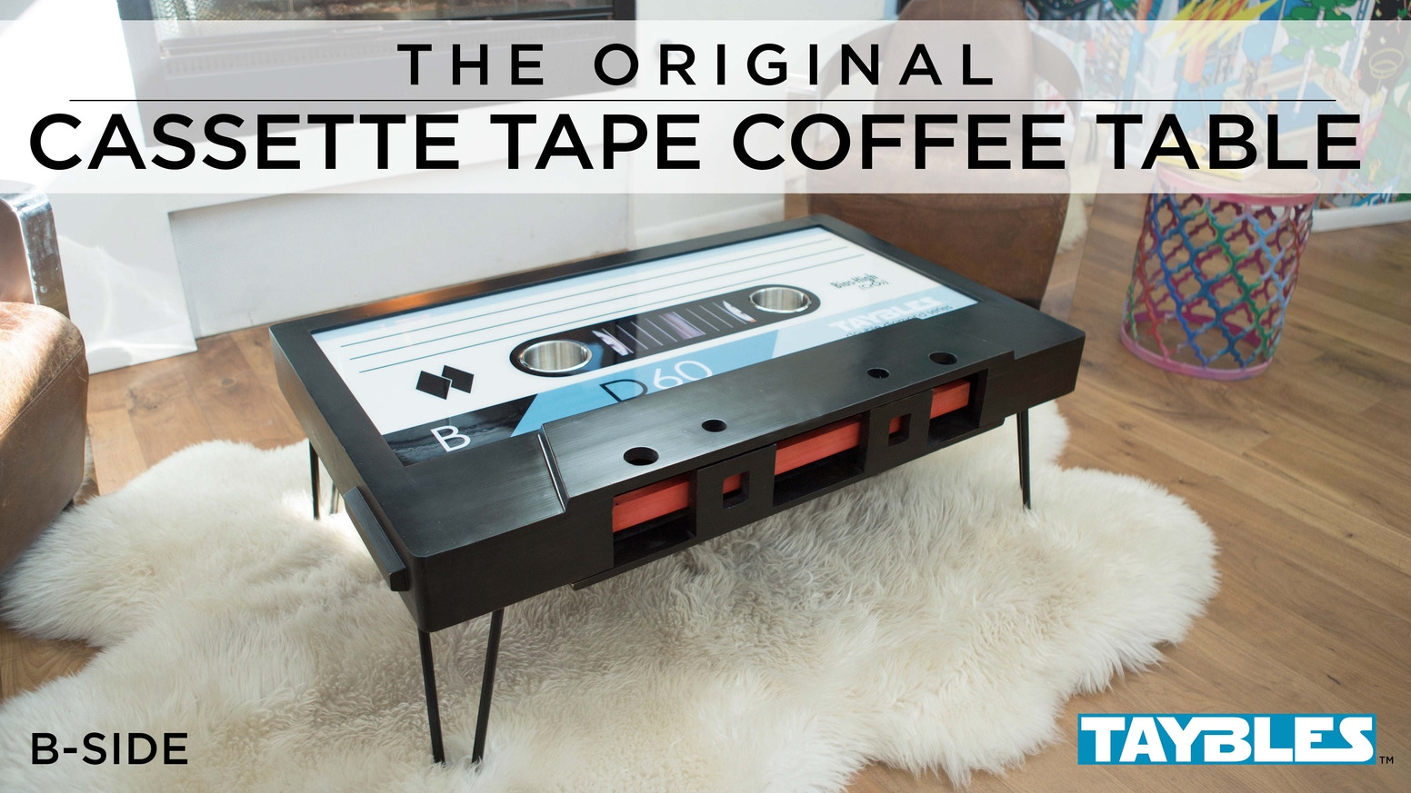 Modern Design Just Got a Retro Look! The Cassette Tape Coffee Table is built to scale with a whiteboard top & hidden storage