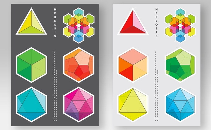 platonic solids sticker sheets