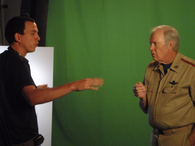Jesse Griffith directs Ronny Cox on greenscreen.