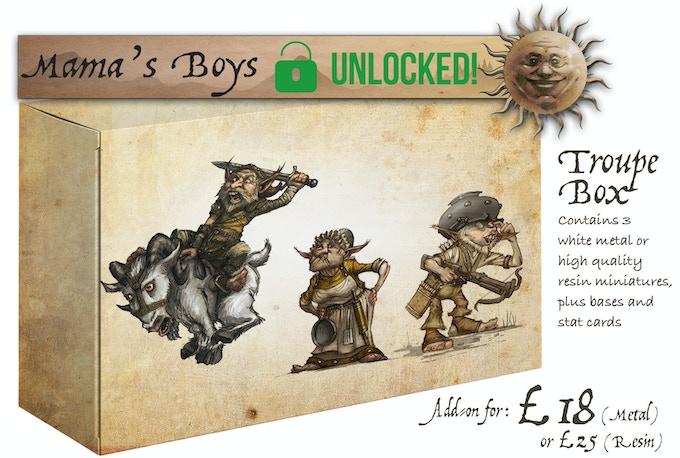 The Mama's Boys Troupe Box contains: Billy, Mama Gimble and Quarrel