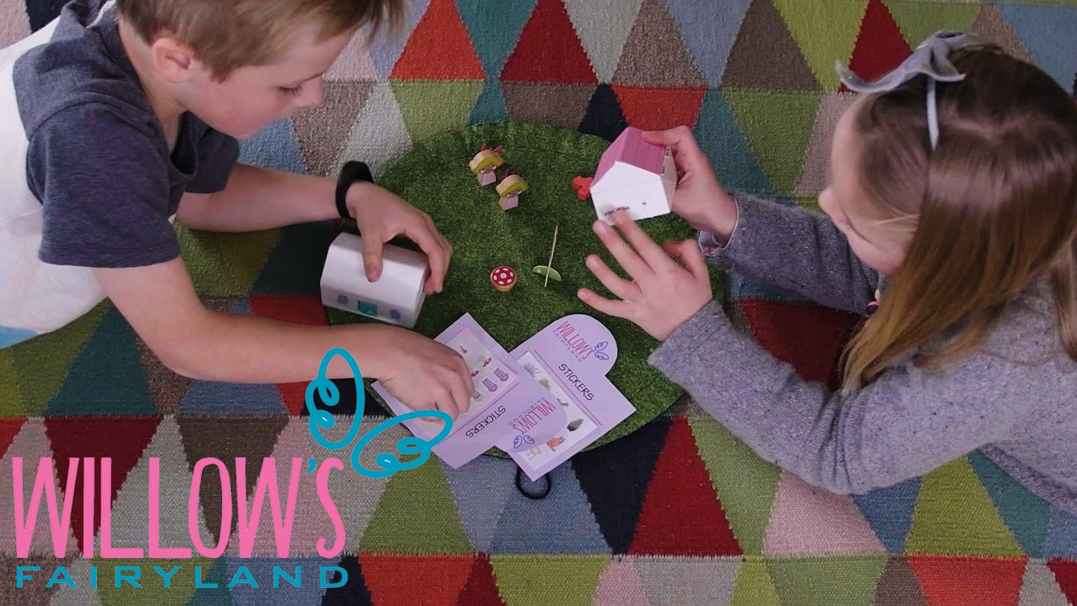 Willow's Fairyland is a gateway into the land of fairies. It is a portable Fairy House, complete with travel mat, stickers and a book.