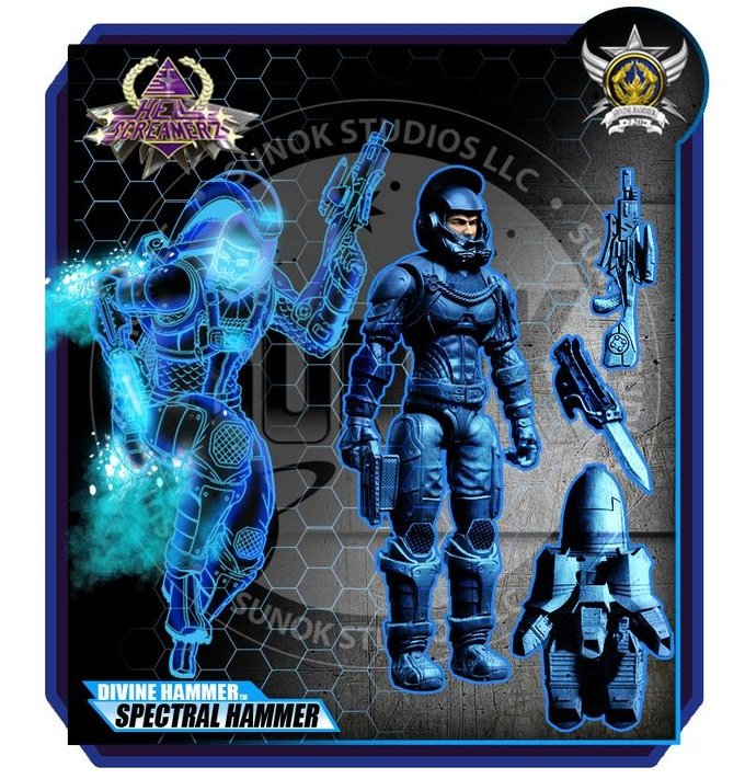 "KICKSTARTER EXCLUSIVE ""SPECTRAL HAMMER"" STEALTH SUIT $25 per figure comes carded"