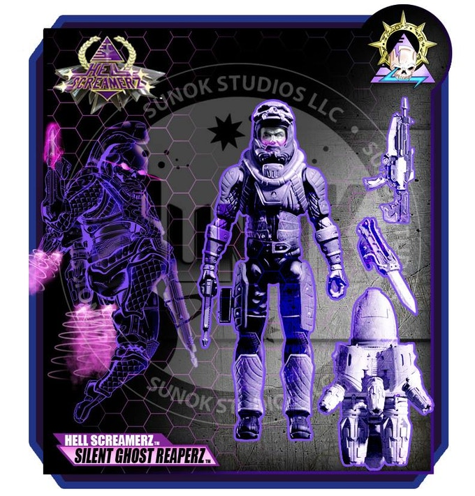 "KICKSTARTER EXCLUSIVE ""SILENT GHOST"" STEALTH SUIT $25 per figure comes carded"
