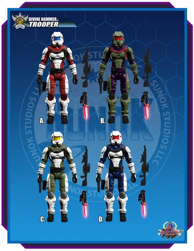"Divine Hammer ""Infantry"" figure color options (A, B, C or D)  Each figure is $18 and comes bagged."