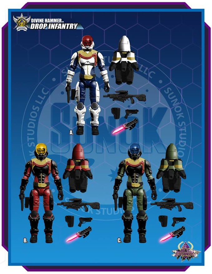 "Divine Hammer ""Jump Pack Infantry"" figure color options A, B or C Each figure is $20 and comes bagged."