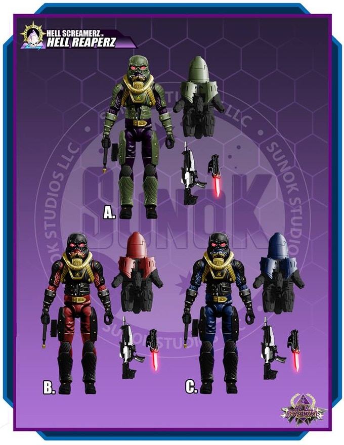 "Hell Screamerz ""Hell Reaperz jump troops"" figure color options (A, B & C) Each figure is $20 and comes bagged."