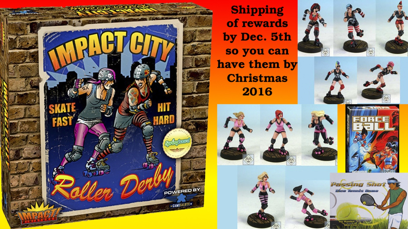 New resin roller derby miniatures with a board game that captures the action of roller derby shipped out for Christmas 2016