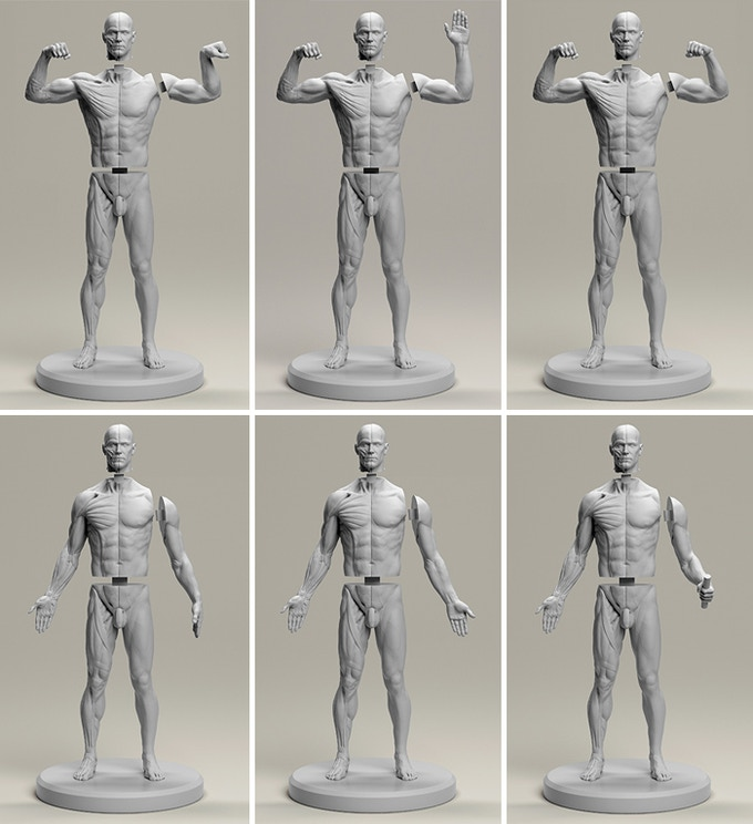 3D render prototype; final figure will be cast in neutral grey resin