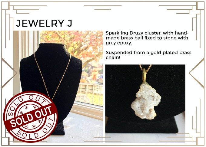 MINIMUM $222 DONATION for this Prize and other prize tiers below it!  Beautiful Druzy crystal with gold plated brass chain! Only 1 available! SOLD OUT!!!