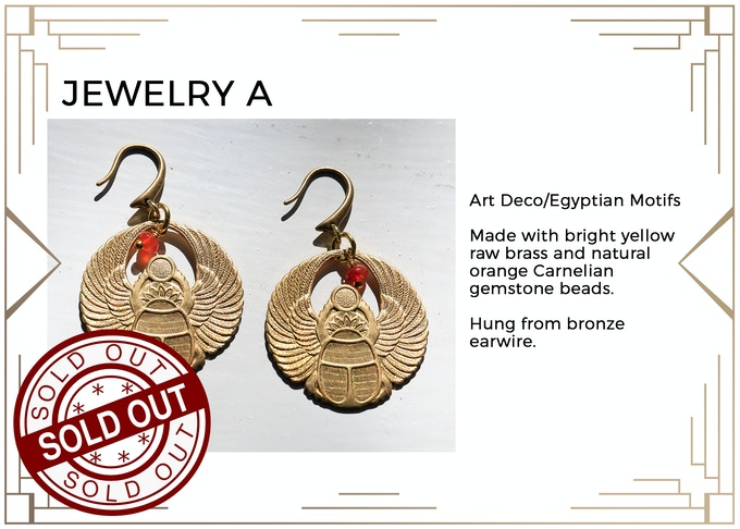 MINIMUM $222 DONATION for this Prize and other prize tiers below it!  Beautiful Earrings for the Art Deco/Ancient Egyptian Inspired. Only 1 available! SOLD OUT!!