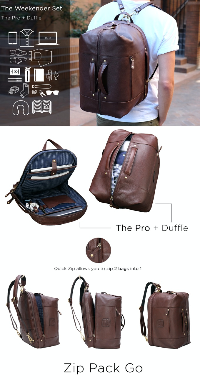 The Leather Duffle Backpack 6 In 1 Set Zip Pack Go By Wool Oak Travel Pounch Tas Bag Pro Use Both Bags Individually Or Zipped Together As Weekender Carry Much Little Needed