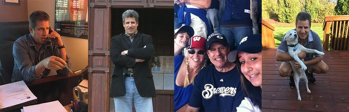 Glenn at work, posing, w family at Brewers game, and w pal Snowy