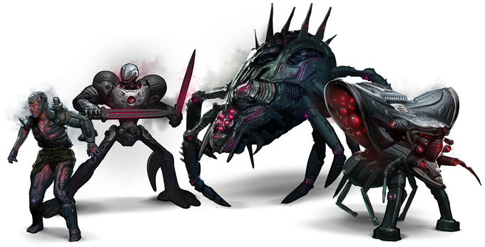 Galactic Coliseum's enemy minions: Scrapnels, Reapers, Raknoids, and Sentinels
