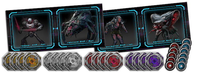 A sample of the enemy tokens, barracks mats, and portal tiles included in Galactic Coliseum