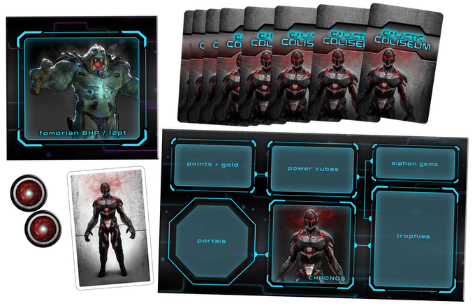 A sample of the Fomorian and Chronos components: enemy tokens, barracks mat, playmat, portals, randomizer, and abilty cards