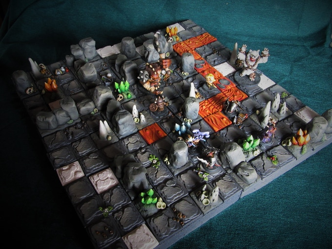 4 cavern tiles with extra scenery added to show you what you can do (Models not included, Supplied unpainted)