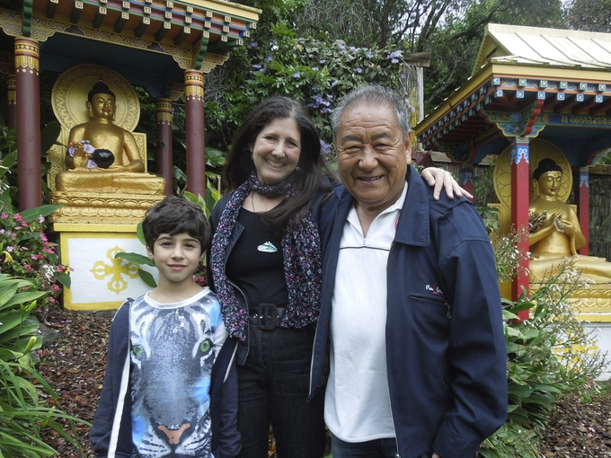 Thuten with Robin and her son Jasper, Dorje Chang Institute, Auckland