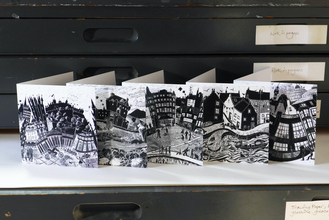 Five greetings cards