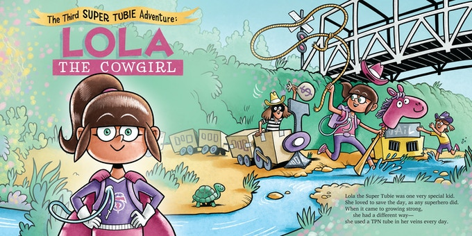 Lola is a girl Super Tubie who uses her TPN tube to wrangle bank robbers in the Wild West!