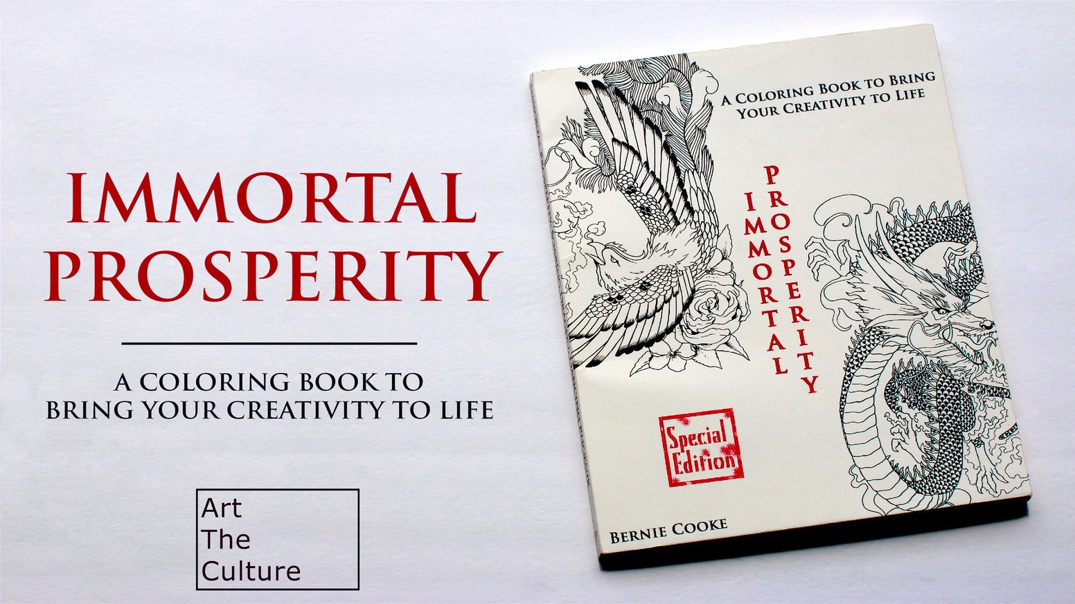 Immortal Prosperity is a premium, highly-detailed coloring book featuring dragons and phoenixes. It is designed for people of all ages.