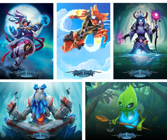 A few of the colorful TCG characters