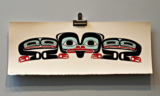 """""""Bear Cub"""" Signed Serigraph Print - Includes """"Moon Mask"""" in Cast Glass - Pledge Level $375"""