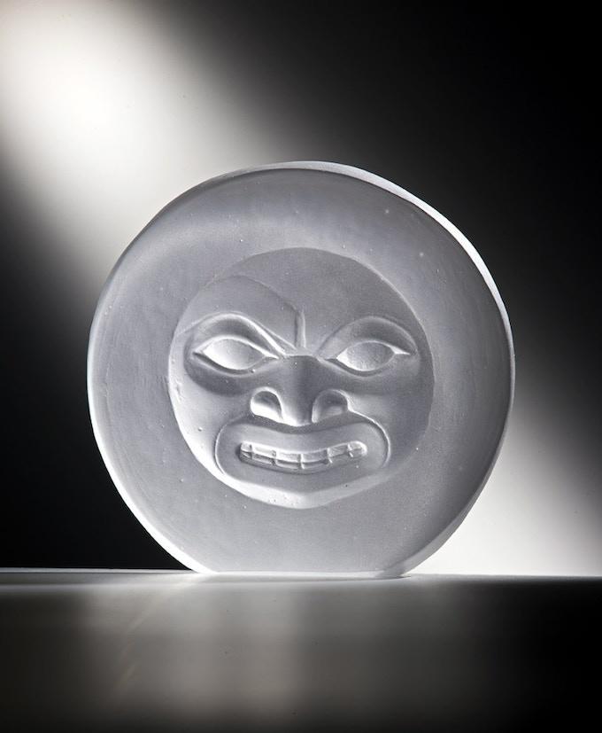 """Moon Mask"" Open Edition Cast Glass - Includes ""Bear Cub"" Serigraph - Pledge Level $375"