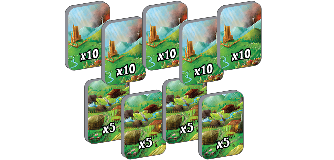 9 Double-Sided Multiplier Tokens (5x on one side, 10x on the other)
