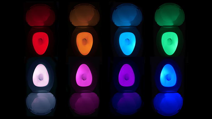 Auto-cycles through 8 Colors or can be frozen on any single color or transition color