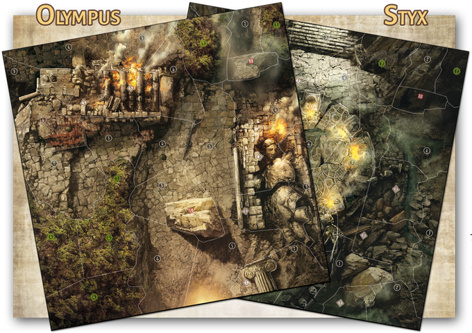 The Olympus and Styx boards, ravaged by the cataclysm. Artwork by Georges Clarenko