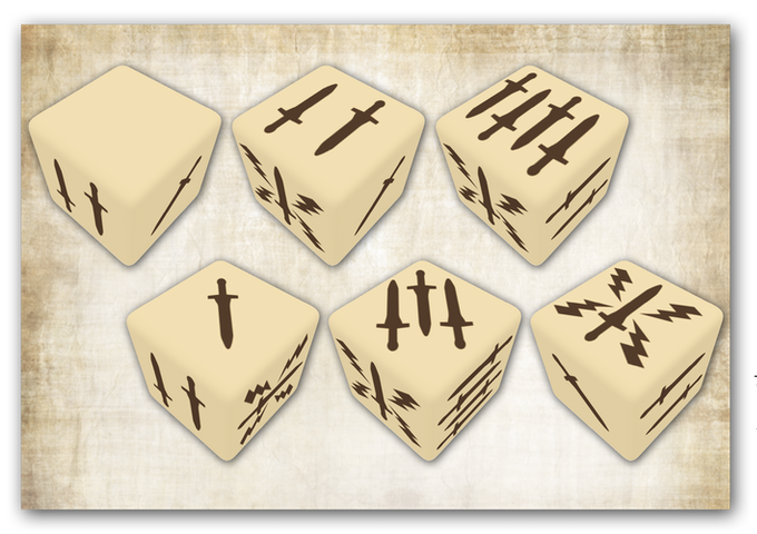 Mythic Battles: Pantheon's special dice are marked 1 to 5, with one blank face