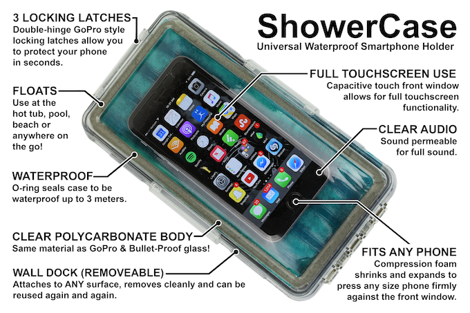 size 40 d76ad 2486f Shower Case: Waterproof Smartphone Holder with Wall Mount by ...