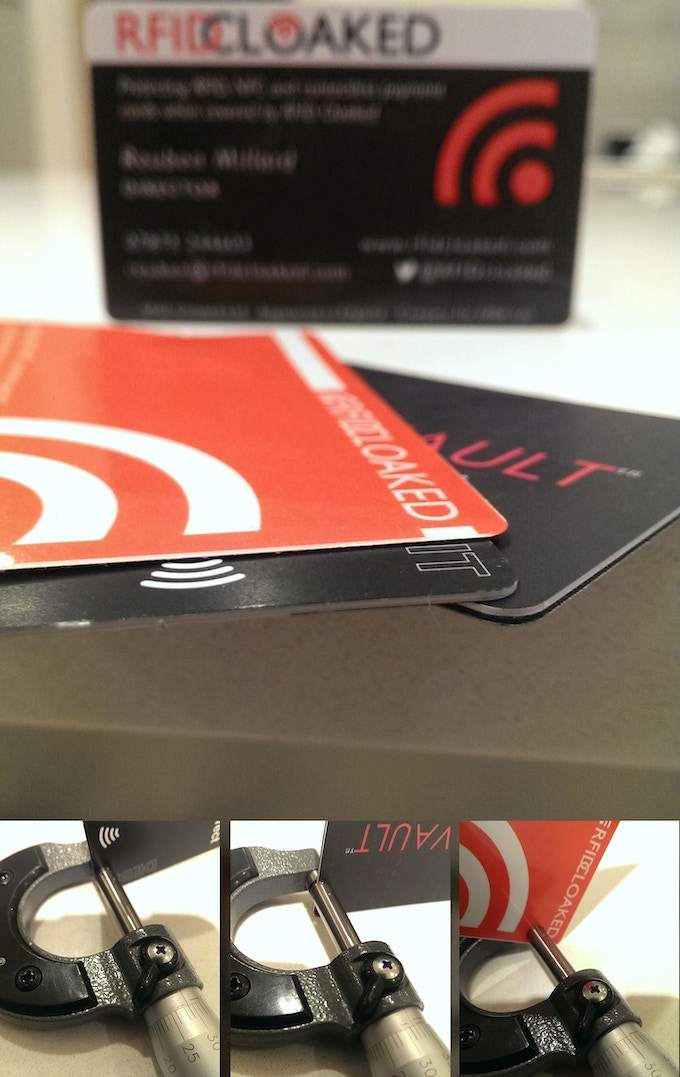 image of our RFIDsecur card showing how thin it is