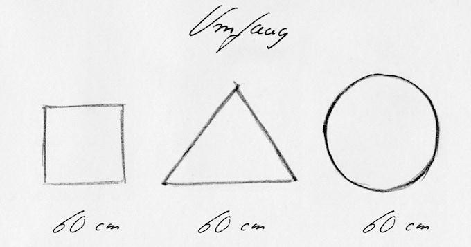 Gleicher Umfang – verschiedene Formen