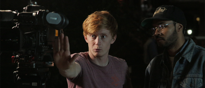 Connor, our DP, coordinating framing with our Director, Xavier.
