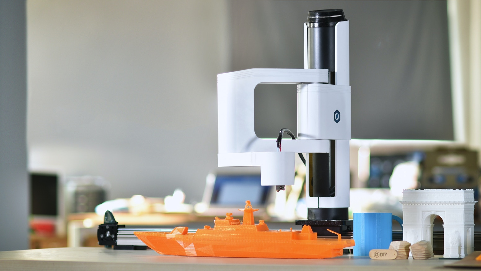Professional SCARA based robotic arm with interchangeable heads and computer vision. 3D print, laser engrave, solder, pick & place...