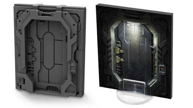 플라스틱 클로즈드 해치 3D 렌더링 및 판지 스탠드